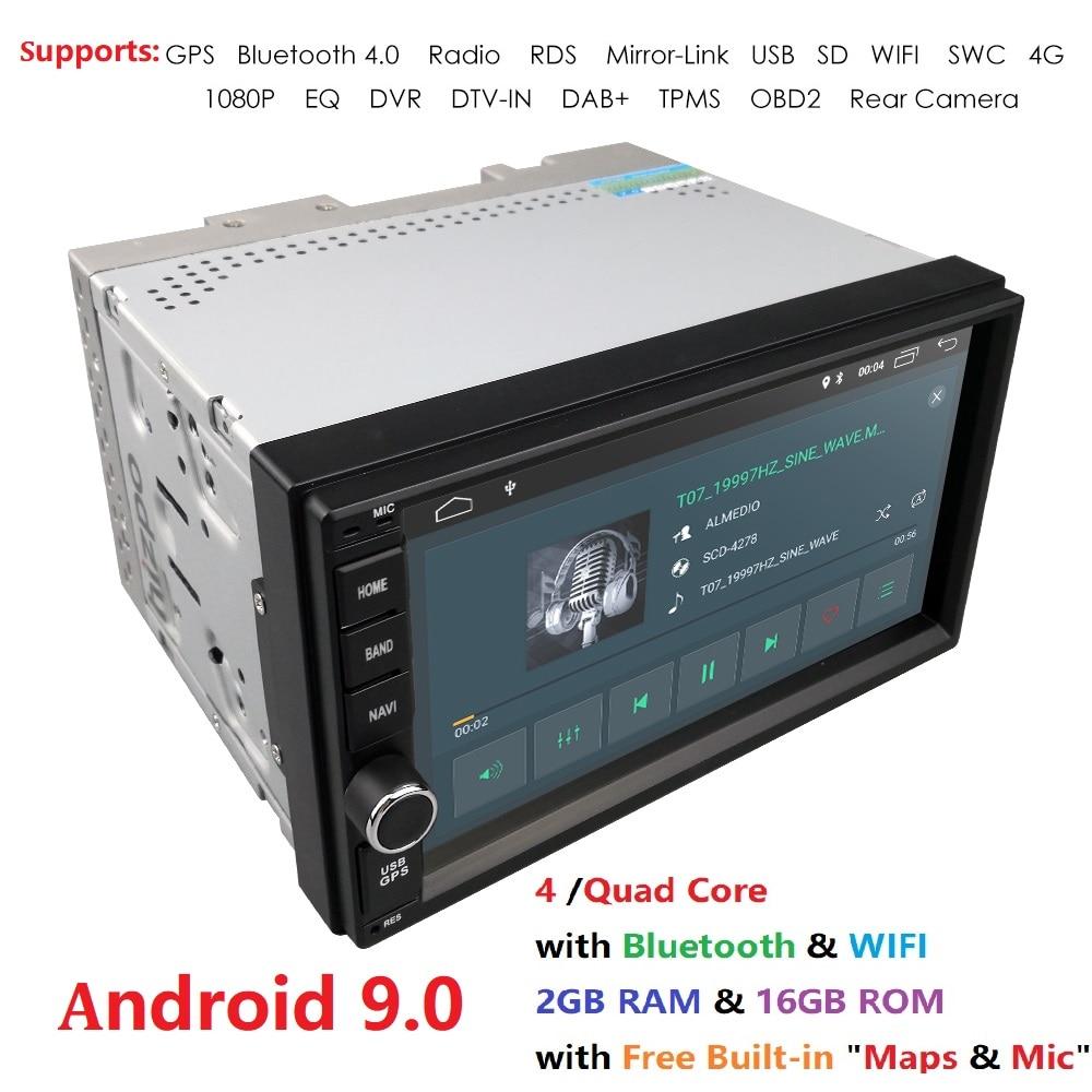 Лучшая модель Wifi Android 9,0 четырехъядерный 7 дюймовый сенсорный экран универсальный автомобильный стерео видео приемник GPS двойной 2 din GPS Навиг...