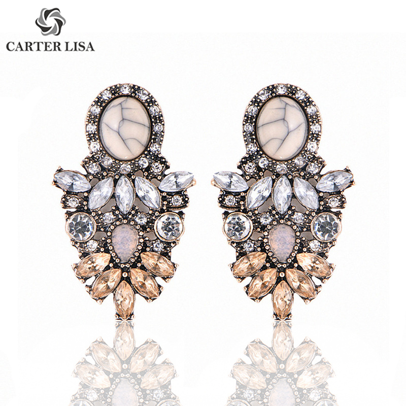 CARTER LISA Wholesale Women Luxury Big Crystal Cluster Flower Earring Fashion Statement Stud Earrings For Women