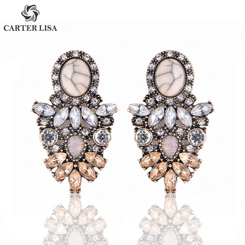 CARTER LISA Wholesale Women Luxury Big Crystal Cluster Flower Earring Fashion Statement Stud Earrings For Women
