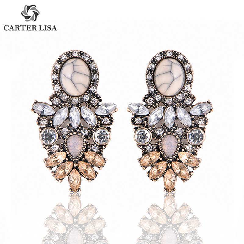 CARTER LISA, venta al por mayor, pendientes grandes de lujo de cristal para mujer, pendientes de flores, pendientes de moda para mujer