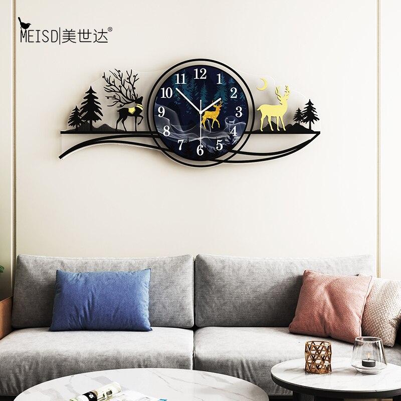 Multicolor Auror Deer Large Wall Clock Modern Design Living Room Home Decoration Wall Decor For Room Decorative Wall Watch Clock Wall Clocks Aliexpress