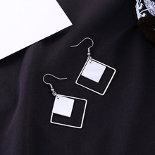 Japanese and Korean Jewelry Wild Simple Geometric Dangle Earrings Personality Temperament Sweet Square Female