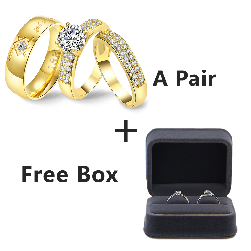 Wedding Rings Couple Bible Cz Stone Crystal Rings Set For Women