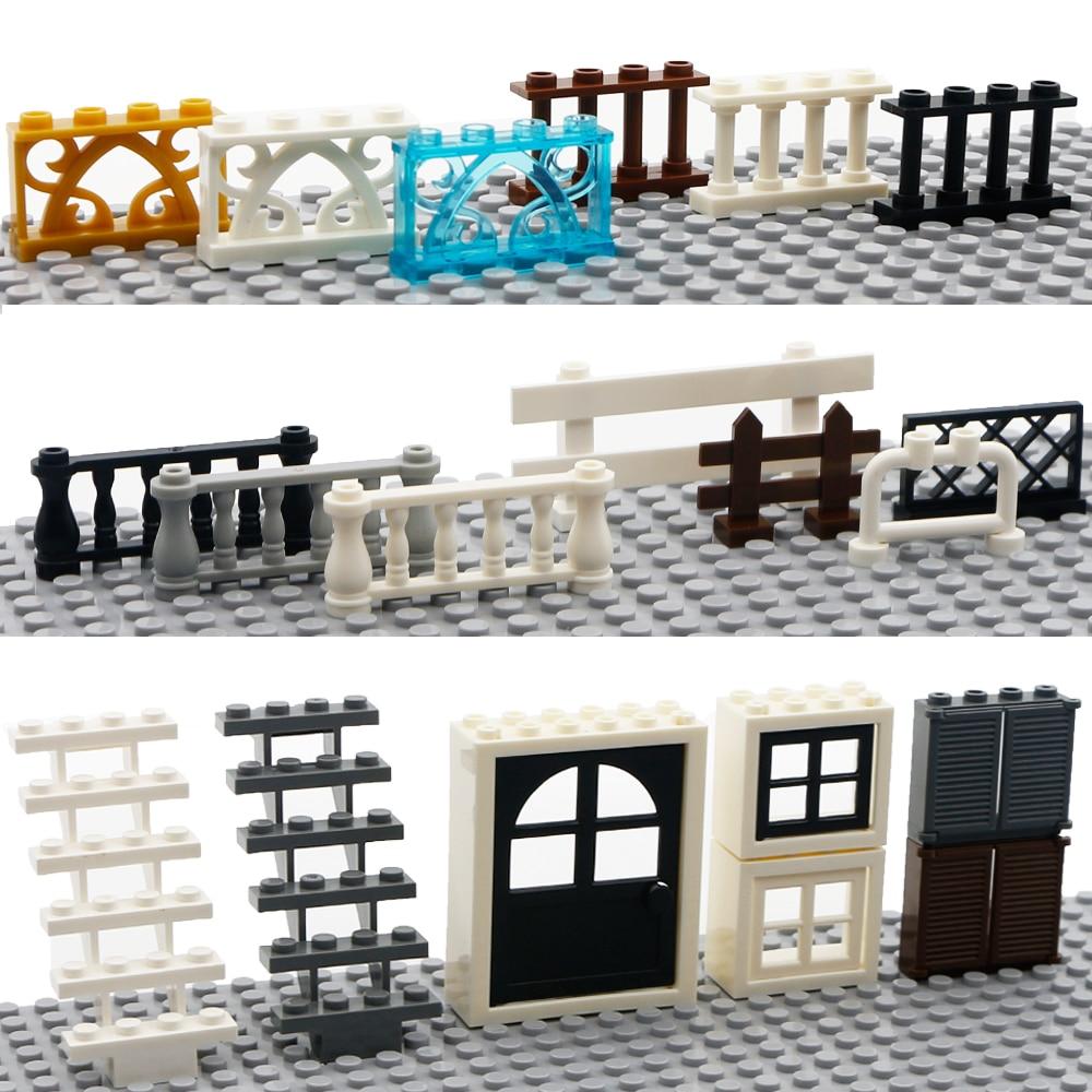 City House Fence Building Blocks Friends Figure Accessories Parts Door Window Compatible MOC Brick Educational Toys For Children