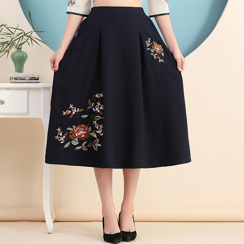 B0908 Ethnic-Style Embroidered 2019 Spring New Style Cotton Linen High-waisted Big Hemline A- Line Skirt Nv Zhong Qun