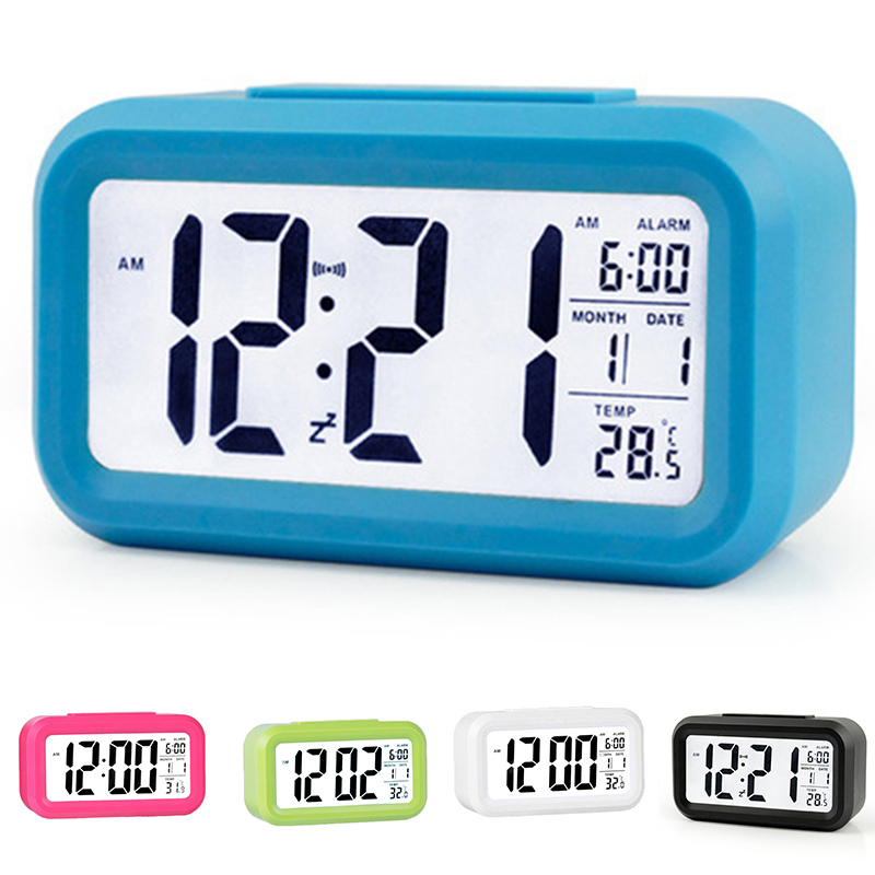 Hot Digital LCD Snooze Electronic Alarm Clock with LED Backlight Light Control