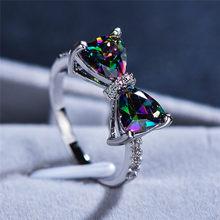 Bonito feminino grande bowknot zircon anel de pedra simples roxo azul vermelho arco-íris anel de casamento rosa ouro amor anel de noivado