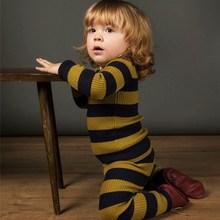 Г. Зима-осень, желтый и красный пижамный комплект для девочек, детский трикотажный комплект, пижама в черную полоску, одежда для сна, комплект одежды