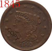 USA 1845 -1857 pelo trenzado medio Penny copia monedas