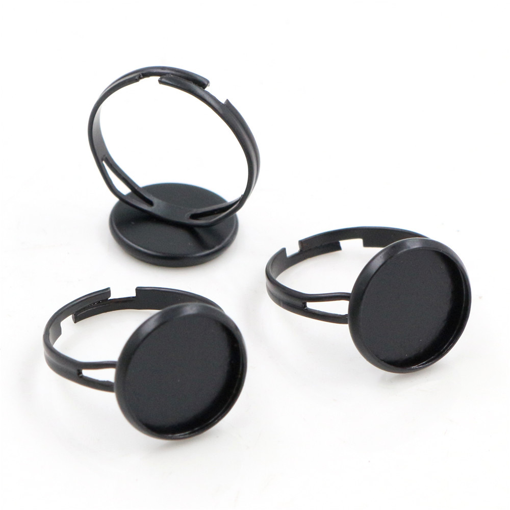 12mm 10pcs Black Plated Brass Adjustable Ring Settings Blank/Base,Fit 12mm Glass Cabochons,Buttons;Ring Bezels J1-21