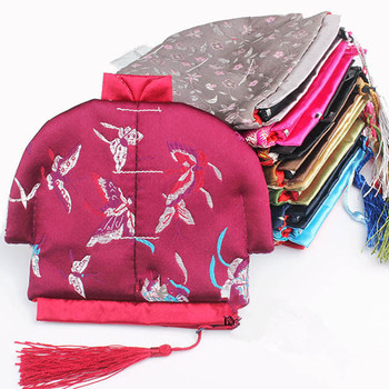 50pcs Creative Chinese Silk Brocade Packaging Christmas Gift Bag Vintage Tassel Small Zipper Pouches Coin Purse