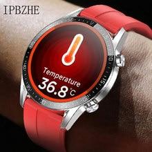 Ipbzhe relógio inteligente homem termômetro ecg relógio inteligente ip68 à prova dip68 água pressão arterial smartwatch reloj inteligente para huawei xiaomi