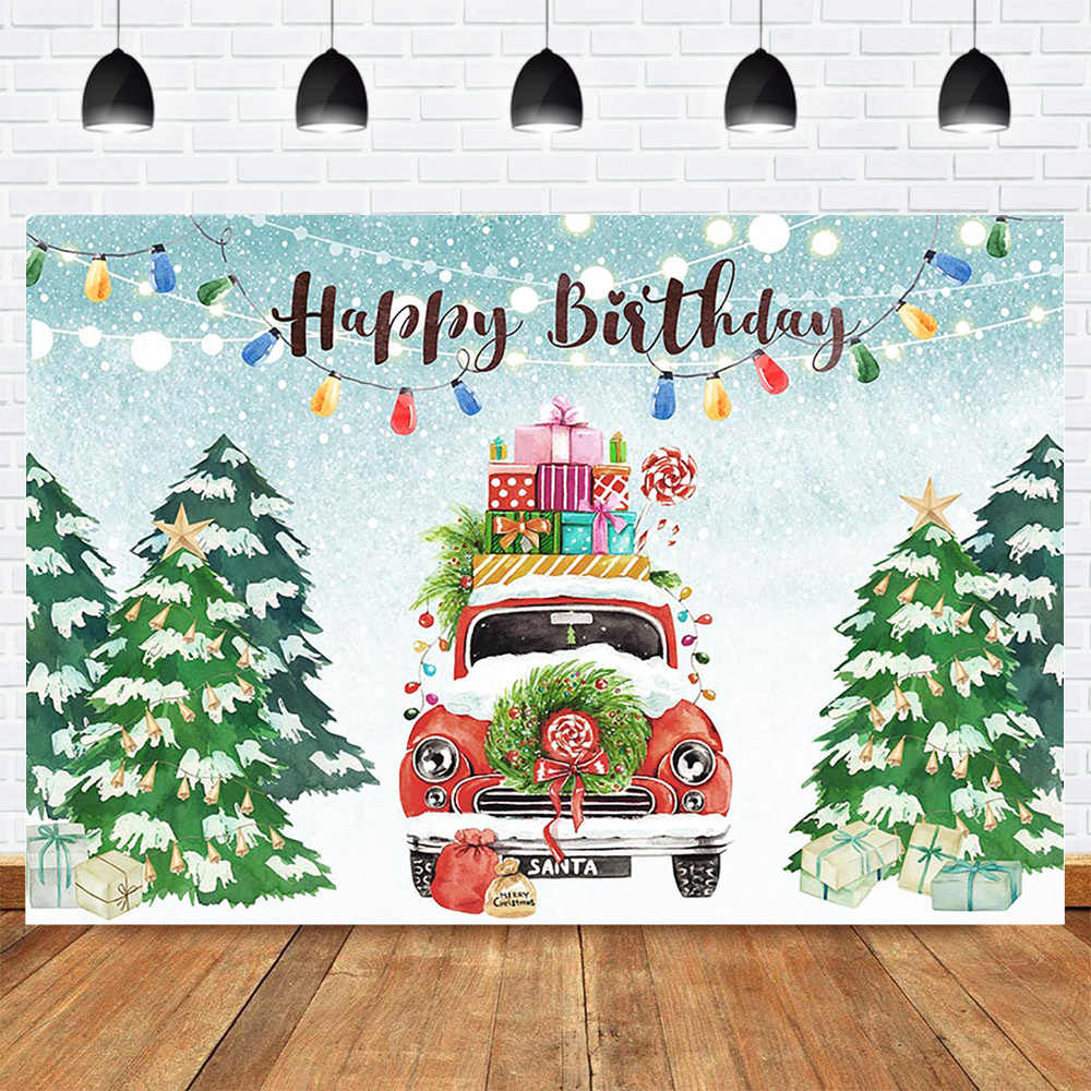 Happy Birthday Christmas Backdrop Snowflake Winter Wonderland Photo Background Light Christmas Tree Gifts Car Birthday Party Background Aliexpress