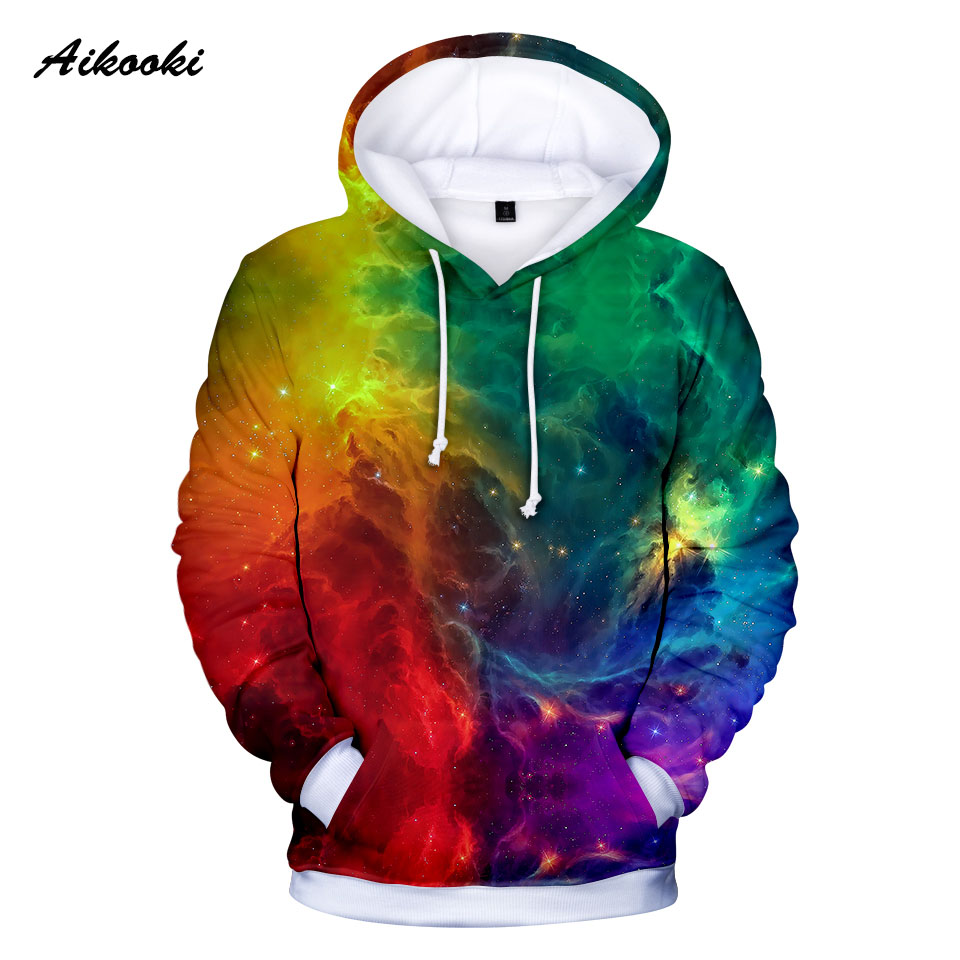 Hot Space Galaxy Yellow And Blue Hoodie 3D Fire Fall Men's Undershirt Women's Hoodie Jacket Winter Handsome Hoodie Jumper