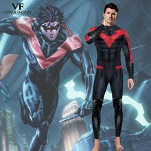 VIP FASHION Adult DC Comic Batman Nightwing Cosplay Costume  Arkham City Richard John Dick Grayson Suit Superhero Zentai Suit