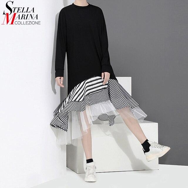 חדש 2020 סתיו ארוך שרוול אישה שחור חצוצרת שמלת טלאים לפרוע אופנתי נמתח גבירותיי חמוד Midi מקרית שמלת חלוק 2048