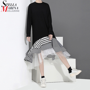 Image 1 - New 2020 Autumn Long Sleeve Woman Black Trumpet Dress Patchwork Ruffle Stylish Stretched Ladies Cute Midi Casual Dress Robe 2048