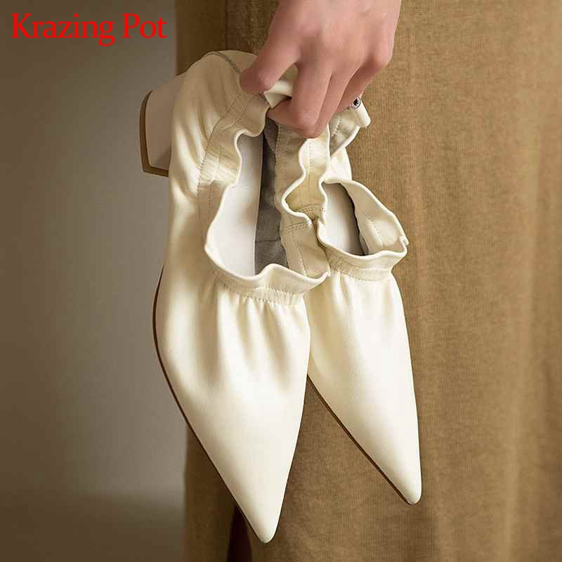 Krazing Pot New Natural Genuine Leather Ruffles European Design Pointed Toe Slip On Women Shallow Wedding Model Runway Pumps L28