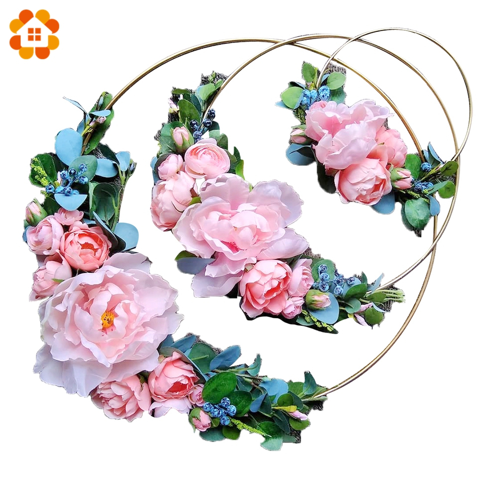 1Set DIY Iron Gold Metal Ring Portable Garland Baby Shower Wedding Bride Flower Wreath Handmade Flower Catcher Hoop Decoration