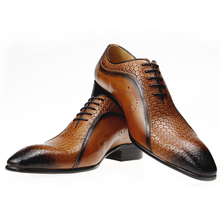 Dress-Shoes Chaussure Men Genuine Lace-Up for Sapato Cuir Homme