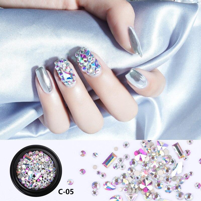 1 коробка разноцветные стразы для дизайна ногтей DIY маникюр Шарм 3D хрустальные камни для ногтей драгоценные камни бриллианты украшения для