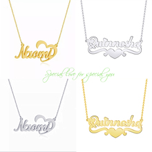 2019 personality nameplate necklace heart love ribbon gold rose stainless steel charm woman jewelry birthday gift BFF