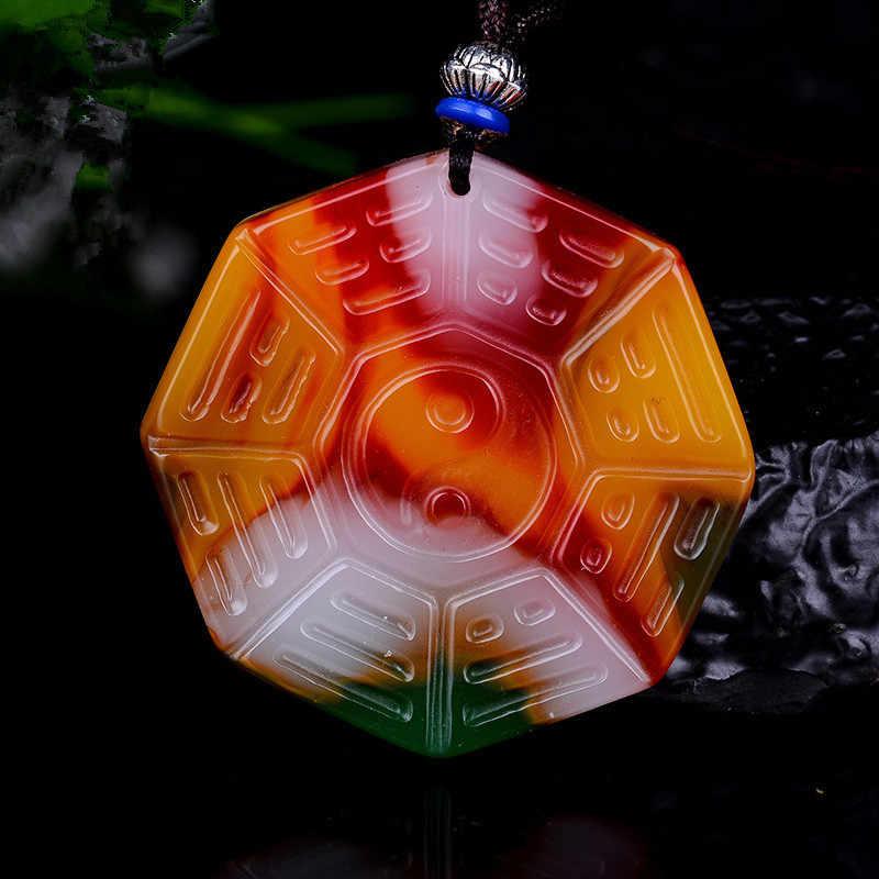 ที่มีสีสันหยกแปด trigrams สร้อยคอจี้เครื่องประดับจีนแกะสลัก Relax Healing ผู้หญิง Luck ของขวัญฟรีเชือก