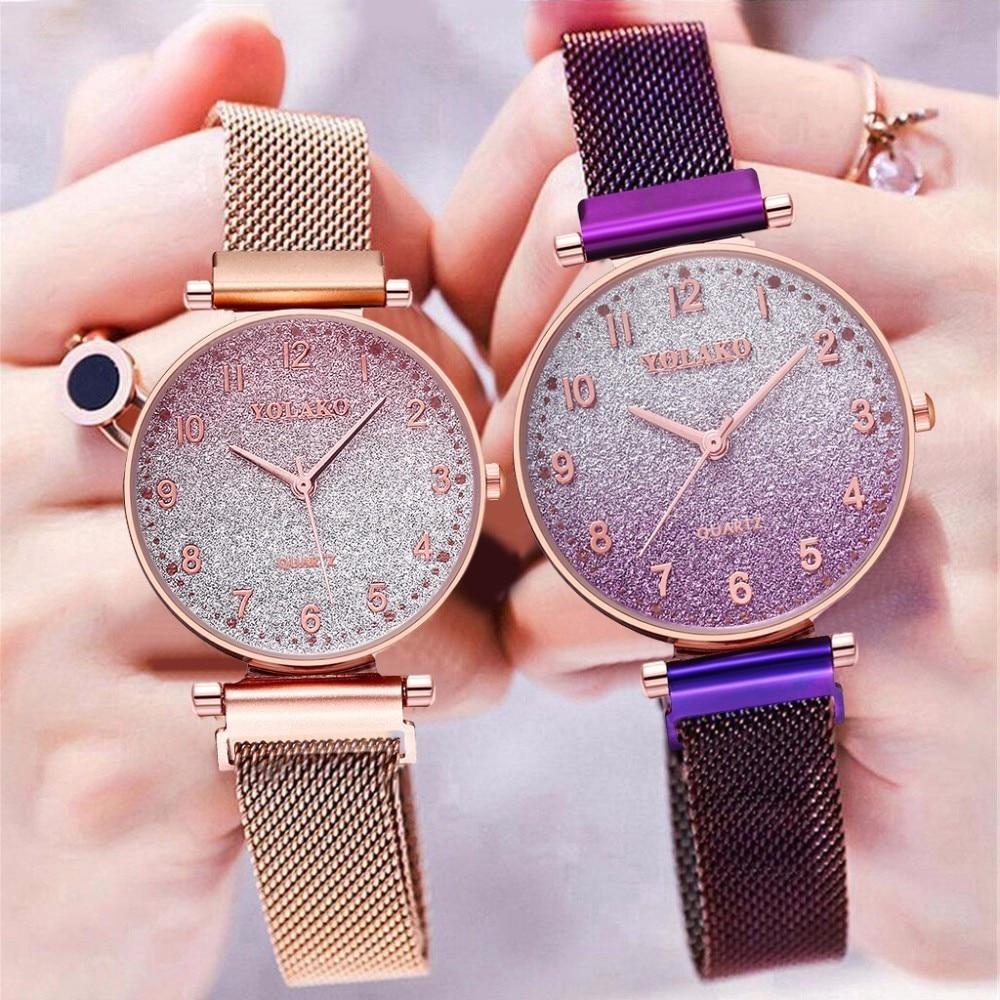 YOLAKO New Women's Watches Personality Magnet Milan Fashion Watch Starry Luxury Watches Gradient Quartz Relogio Feminino Saati
