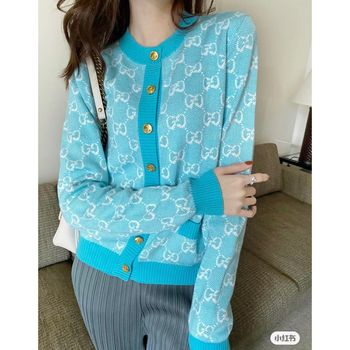 2021 Spring and Autumn High Quality Fashion Paris Double G Letter Round Neck Knit Cardigan Jacket 1