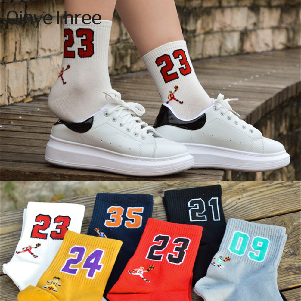 High Quality Fashion Men's Funny Breathable Basketball Sport Stars With Lucky Number 09/21/23/24/35 Unisex Harajuku Happy Socks