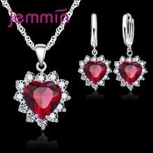 Nova moda 6 cores feminino coração cristal conjunto de jóias para casamento noivado 925 prata esterlina colar brincos