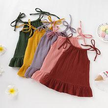 Vestido de verano bebé Infante sin mangas con volantes, Sarafan, de algodón y lino, muselina, ropa