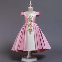 Vestido elegante de la princesa 2020 vestido de las muchachas bordado Vintage vestido de la bola del Partido de la boda Vestido de la exhibición de la Navidad ropa de los niños