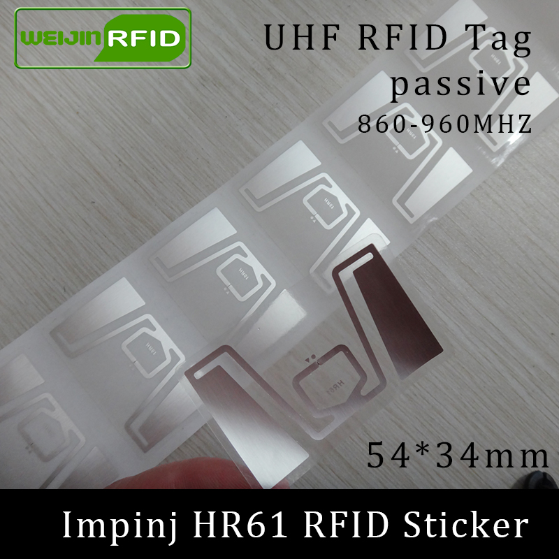 UHF RFID Sticker Tag HR61 Impinj Monza R6 MR6 Chip 860-960MHZ 900 915 868mhz Higgs3 EPCC1G2 6C Smart Card Passive Tags Wet Label