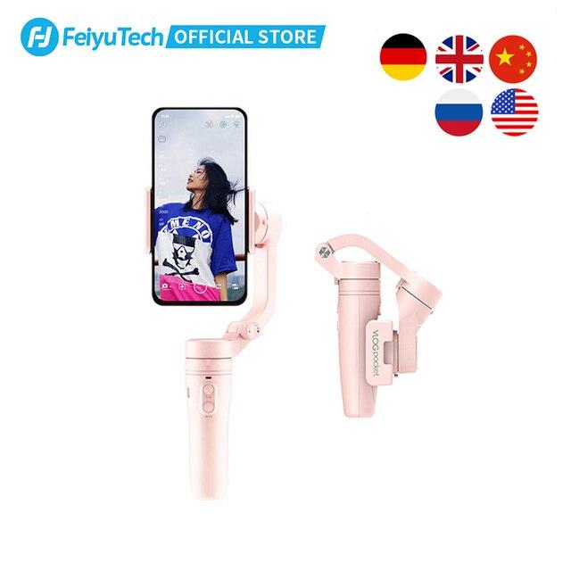 FeiyuTech Vlog כיס מיני כף יד Smartphone Gimbal מייצב selfie מקל עבור iPhone X 8 7 6, HUAWEI P30 פרו 、 MI 9 、 VIVO (ורוד)