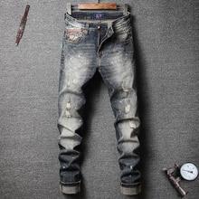 2020 Новый Стиль Дизайнер Мужчины Джинсы Мода Уличная Драк Синий Цвет Тонкий Кнопки Fit Классические Брюки