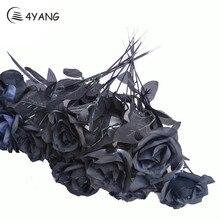 Искусственный Черный букет роз из шелка Хэллоуин одна ветвь дома моделирование Черная роза искусственный цветок для Свадьбы вечерние украшения