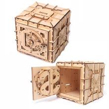 3D Puzzles Wooden Password Treasure Box Mechanical Puzzle DIY Assembled Model