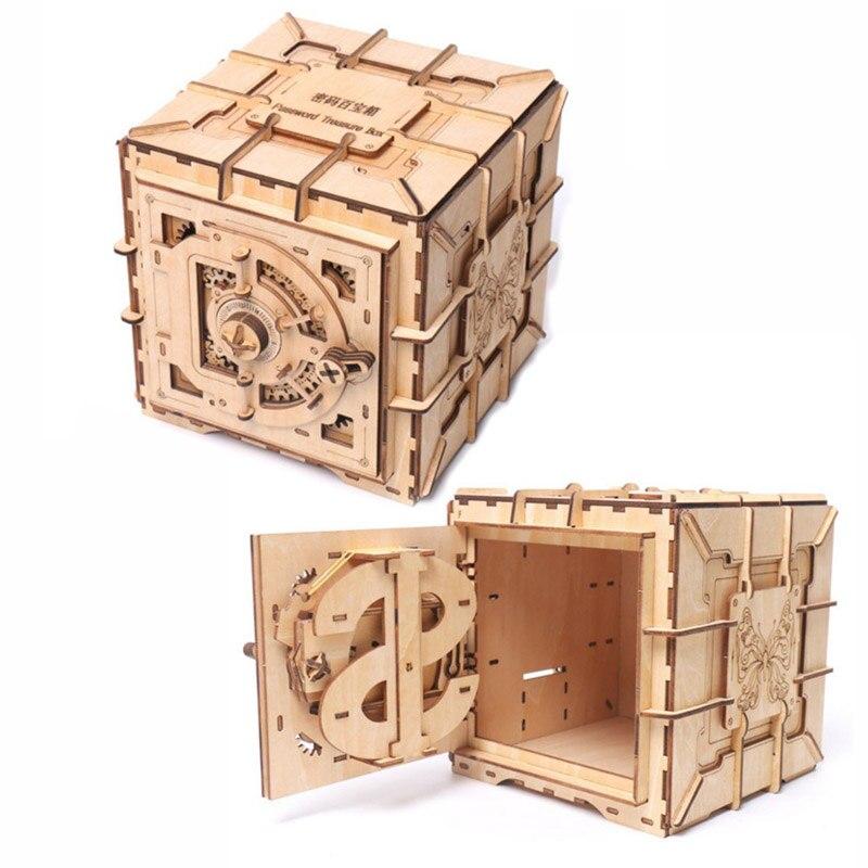 3d quebra-cabeças de madeira caixa de tesouro de senha quebra-cabeça mecânica diy montado modelo