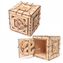 Puzzle 3D drewniane hasło kuferek na skarby Puzzle mechaniczne DIY zmontowane Model