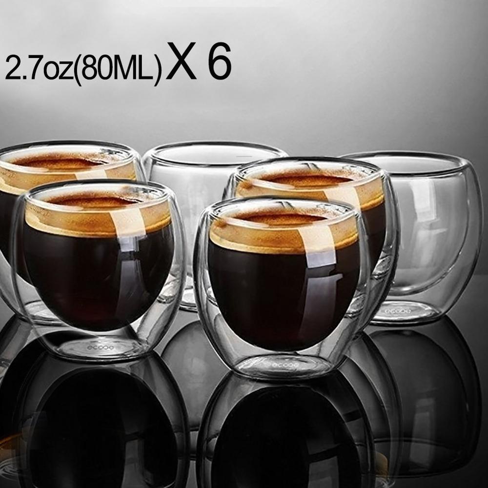 새로운 6Pcs 80ml 2.7oz 유리 이중 벽 열 절연 텀블러 에스프레소 티 컵 커피 머그잔 tazas de ceramica creativas