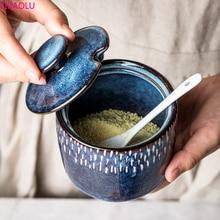 Ceramic Household Seasoning Jar Creative Nordic Kitchen Oil Salt Sauce Vinegar Seasoning Jar Combination Set Sugar Bowl MSG Jar