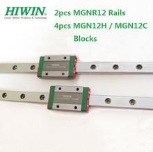 2pcs Original Hiwin rail MGNR12 -L 100mm/200mm/300mm/330mm/400mm/500mm/600mm +4pcs MGN12H / MGN12C blocks for cnc