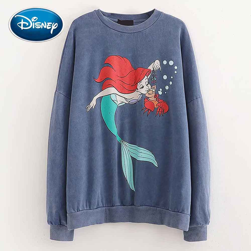 Disney Cute The Little Mermaid Ariel Crab Cartoon Print Fleece T-Shirt O-Neck Pullover Long Sleeve Casual Women Loose Tee Tops