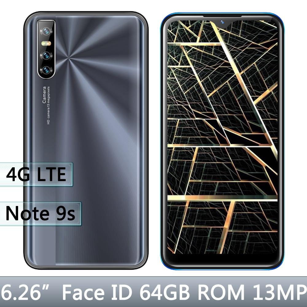 Android Note 9s 4GB RAM 64GB ROM 13MP twarz odblokowany czterordzeniowy globalny smartfon 6.26