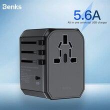 Benks 5.6a carga rápida 3.0 carregador usb portátil adaptador de energia universal pd carregamento rápido reino unido/ue/au/eua parede plugues viagem soquetes