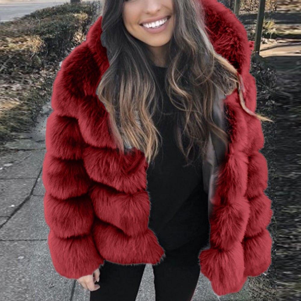 Hiver chaud fausse fourrure usine Faux renard fourrure manteau femmes moelleux fourrure artificielle à capuche manteaux pardessus - 2