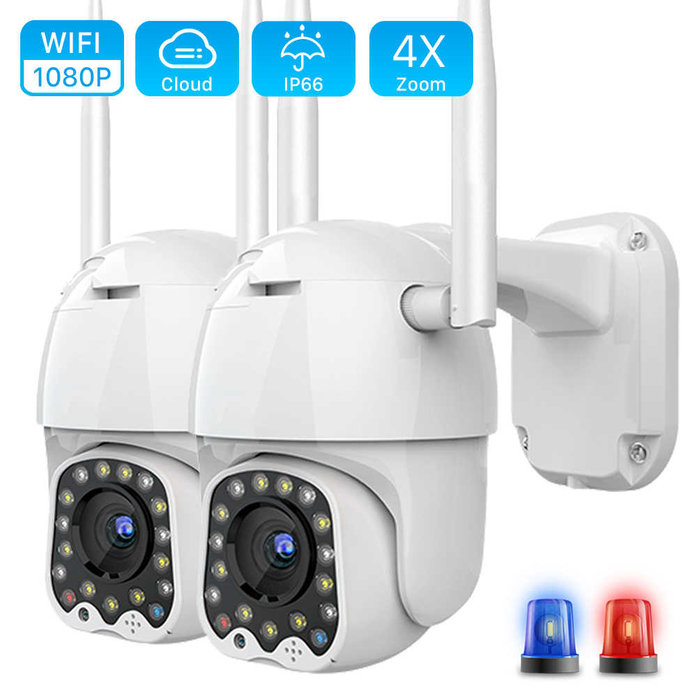 1080P Outdoor PTZ IP Camera Auto Tracking 2MP Cloud Home Security Wifi Camera 4X Digitale Zoom Speed Dome Camera met Sirene Licht