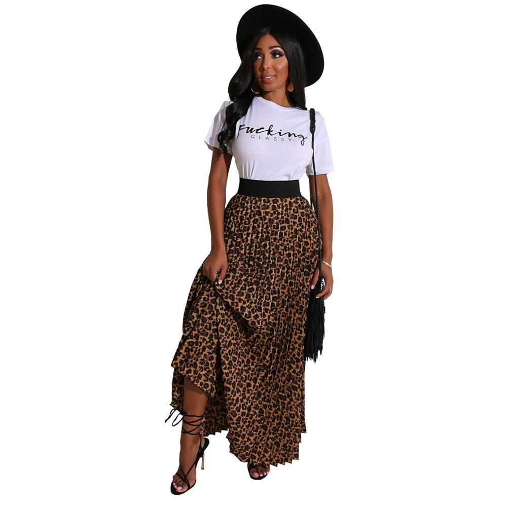 Echoine Leopard Print Long Maxi Pleated Skirt And Letter Print Tshirt Two Piece Set Summer Women Long Skirt Set Matching Sets