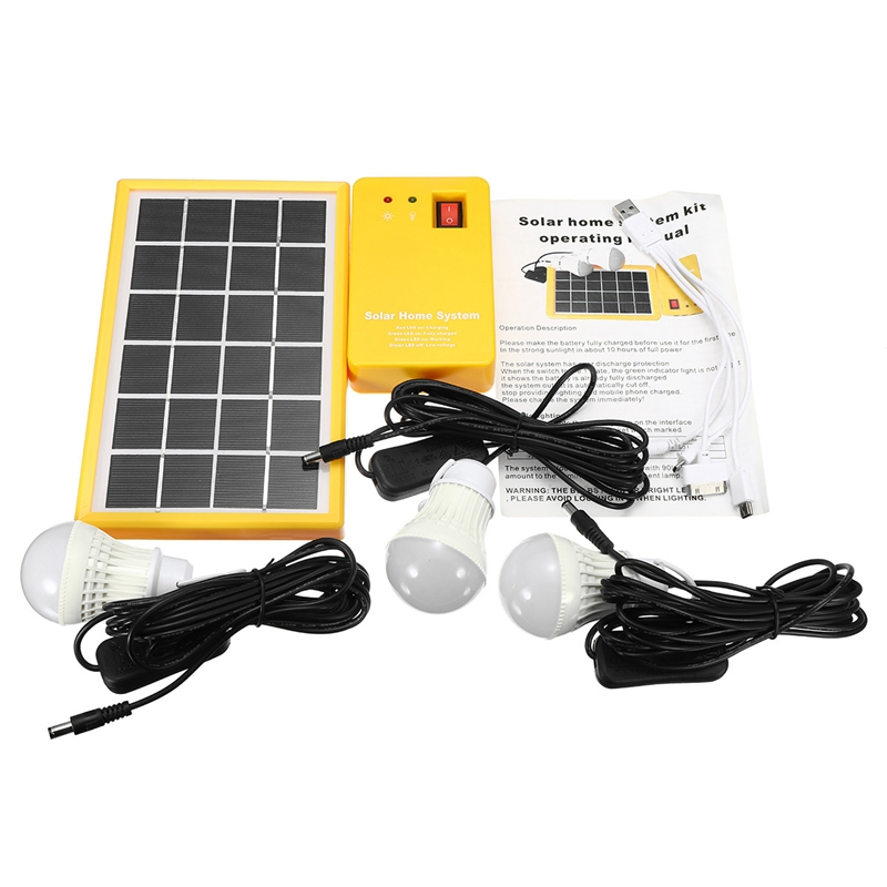 Solar Power Panel Generator Kit Home System with 3 Led Bulbs Outdoor Lighting